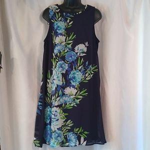 Madison Leigh Sleeveless Floral Blue Midi Dress